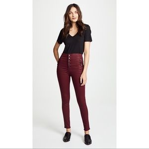 J Brand Natasha Sky High Rise Oxblood Coated Jeans